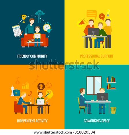 Coworking space center design concept set with friendly community professional support independent activity flat icons isolated  illustration - stock photo
