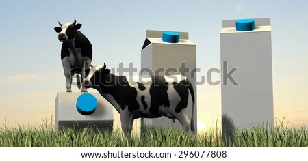 cows and milk packages in grass in the sunset - stock photo
