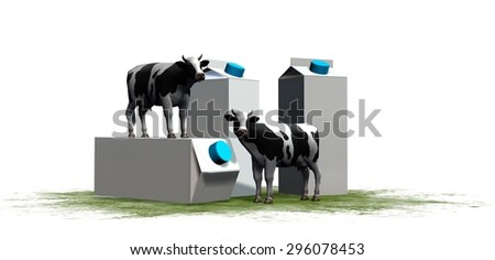 cows and milk packages in the grass isolated on white background