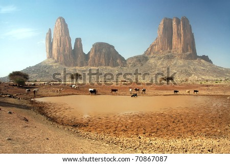 Cows around a dam in front of the Main de Fatima rock formation - stock photo