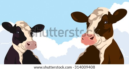 Cows on a background of blue sky - stock photo