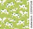 Cows on the field seamless pattern background raster - stock vector