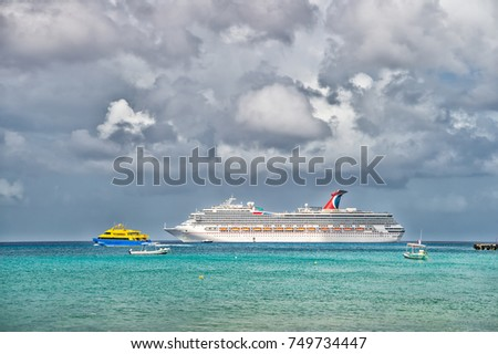 Cozumel, Mexico-december 24. 2016: Luxury Carnival cruise ship sailing from port of Cozumel