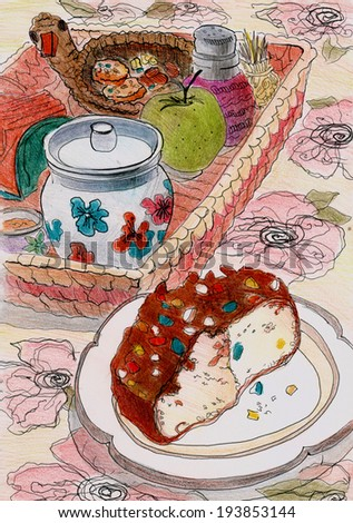 Cozy and cute still life with cake and sugar bowl poster illustration painting hand drawn watercolor pencil art  - stock photo