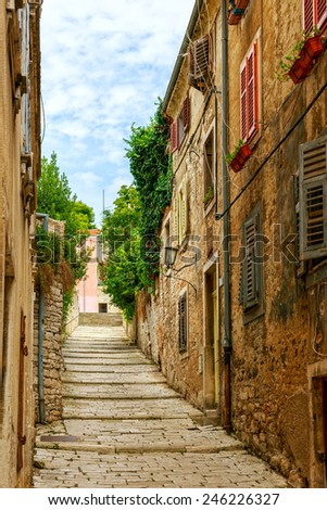 Cozy and narrow streets in Pula's medieval old town, Croatia