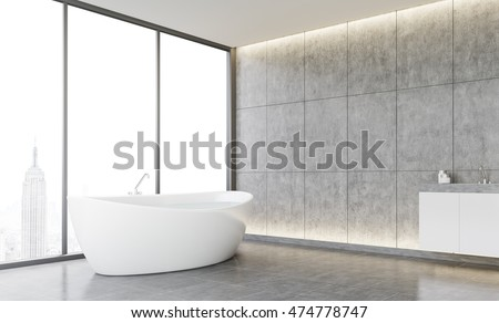 Cozy bathroom interior with tiled walls and concrete floor. New York City view through panoramic window. Concept of comfort. Mock up. 3d rendering