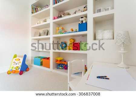 Cozy children's desk in the storey house