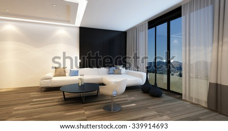 Cozy corner in a living room at night illuminated by overhead lights with a large television, corner sofa and armchair in front of panoramic floor-to-ceiling windows with a country view. 3d Rendering.