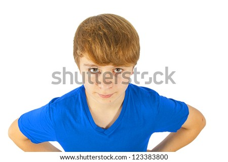 cozy cute smiling boy with blue shirt isolated on white