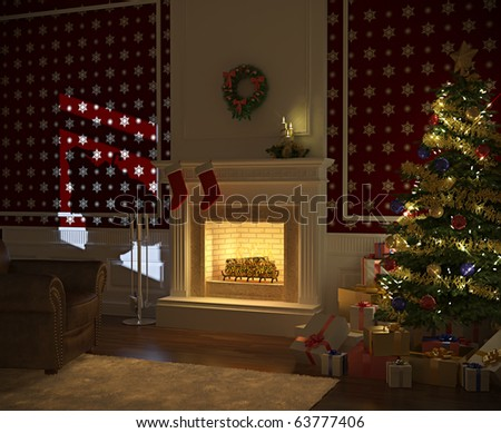 cozy decorated christmas fireplace at night with tree, presents and santa claus silhuette on the wall
