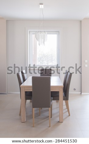 Cozy dining space with big family table