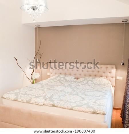 Cozy family bedroom interior - double bed  - stock photo