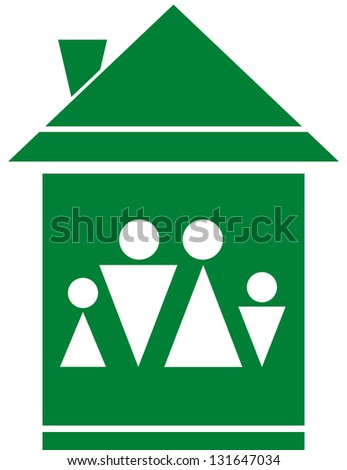 cozy green symbol with family silhouette in big home - stock photo
