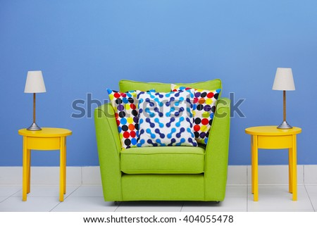 Cozy interior with armchair indoors