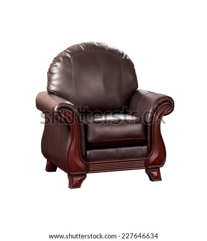 Cozy leather chair - stock photo