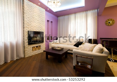 Cozy living room in home interior - stock photo