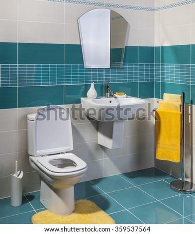 cozy modern bathroom - stock photo