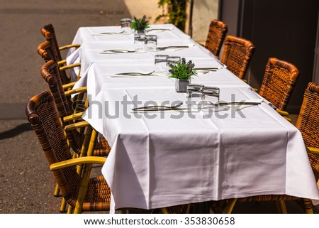 Cozy Restaurant tables ready for service. Small GRIP shot