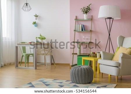 Cozy Room With Lots Of Furniture And Pink And White Design