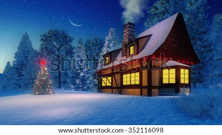 Cozy rustic house with smoking chimney and icicles on the eaves and illuminated christmas tree with red star on its top under starry night sky with a half moon. Decorative 3D illustration. - stock photo