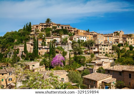 cozy small beautiful village Deia on the hill, Mallorca, Spain - stock photo