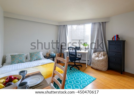 Cozy studio student apartment with a combined dining room, bedroom, and office