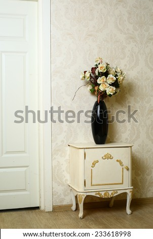 cozy stylish vintage corner of the bedroom with flowers  - stock photo