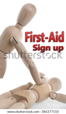 CPR or First Air is being performed with two wooden characters.