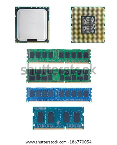CPU and RAM isolated  set on white background with out shadow. - stock photo