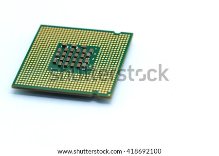 CPU (Central Processing Unit) microchip isolated on white background ; brians of computer