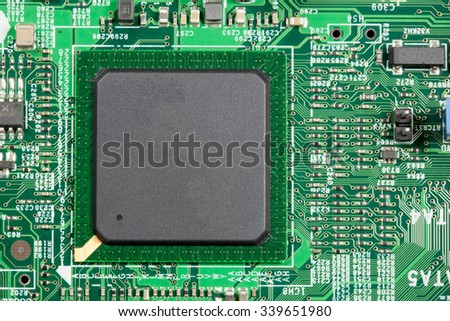 CPU chip close up chip on PCB - stock photo