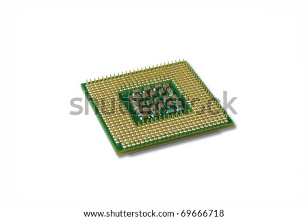CPU close up against white background