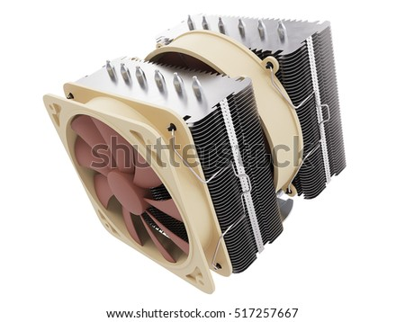Cpu cooler , Heat Sink on isolated background. 3D illustration