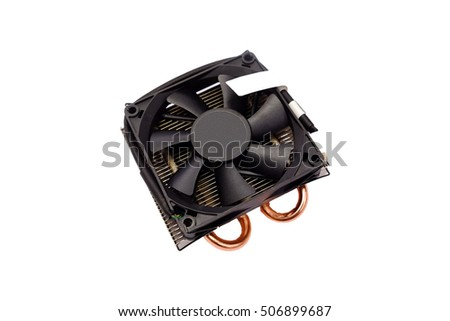CPU cooler, Heatsink and Heatpipe for cooling CPU, Isolated on white background