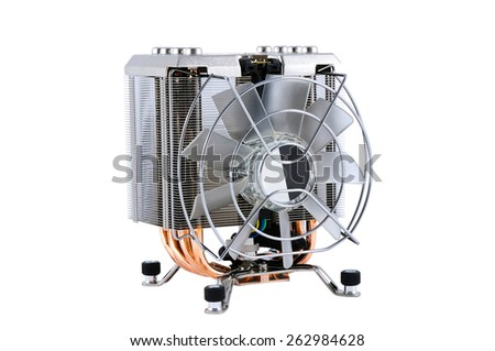 cpu cooler on a white background - stock photo