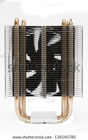 Cpu cooler, with copper pipes and aluminium radiator - stock photo