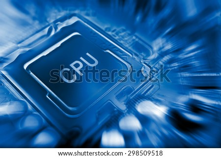 CPU electronic circuit on motherboard computer - stock photo