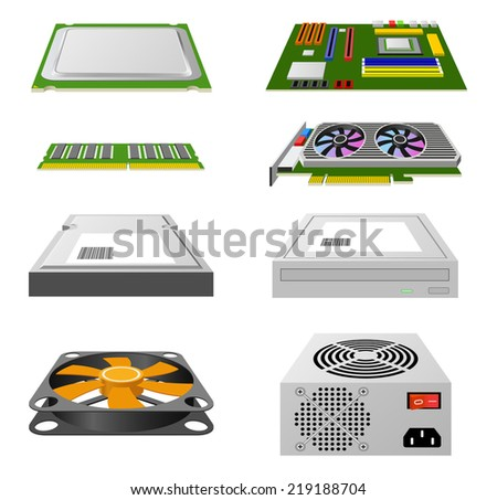 CPU, matherboard, video card, hard disc, other hardware isolated on white background (raster version). - stock photo