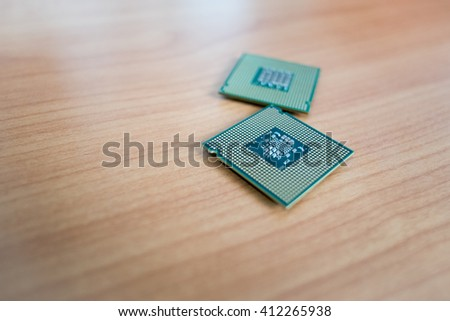 CPU microchip important computer or electronic circuits processor - stock photo