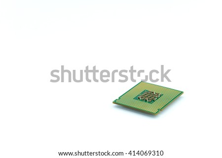 CPU microchip isolated on white background ; brians of computer - stock photo