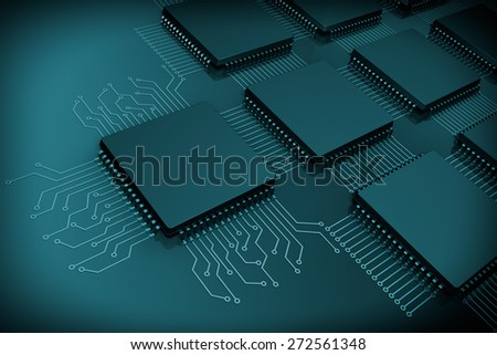 CPU Microchips as Circuit on a black background - stock photo