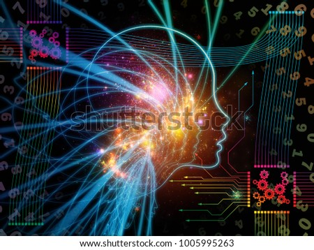 CPU Mind series. Graphic composition of human face silhouette and technology symbols for designs on  computer science, artificial intelligence and communications