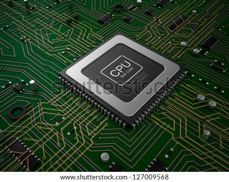 CPU on motherboard. - stock photo