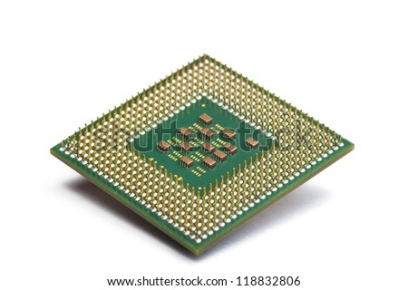 CPU Processor chip on white isolated.