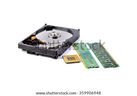 CPU, RAM module and HDD on white background. Selective focus. Shallow DOF - stock photo