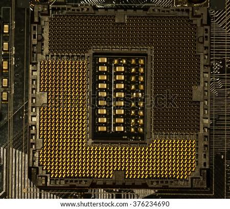 CPU socket,Macro CPU socket.CPU socket The main components of a computer. - stock photo