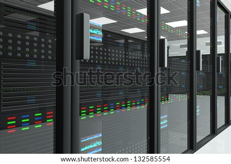 CPU Unit Server Room Data Center - stock photo