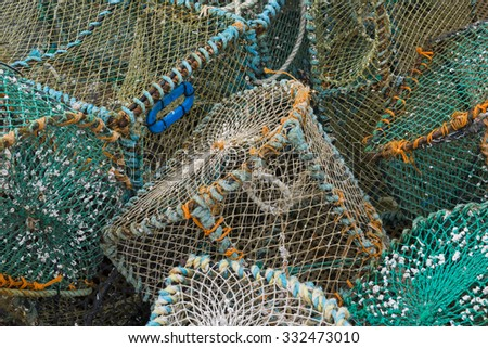 crab and lobster traps in different sizes and colors.