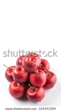 Crab apple fruit over white background