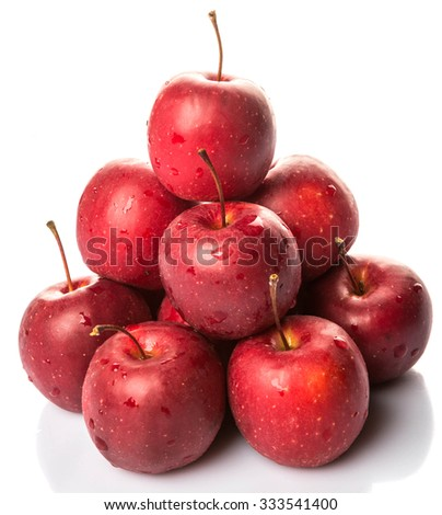 Crab apple fruit over white background - stock photo